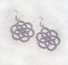 Lace Flower Earrings in Tatting  Aster by TataniaRosa on Etsy