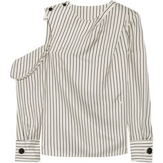 Monse One-shoulder pinstriped silk-twill blouse ($1,290) ❤ liked on Polyvore featuring tops, blouses, shirt blouse, tailored shirts, white blouse, white top and white button shirt