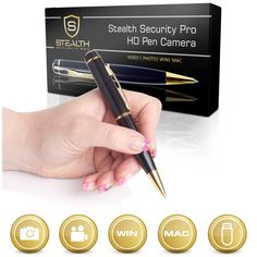 32GB HD Spy Pen Camera 100 Min Video Recorder, FREE 32GB Memory Card, 5 Extra Ink Refills - Professional Secret Mini Digital Security Pencil With Tiny Undetectable Hidden Covert Cam