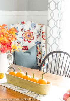 Fall Decorating Ideas + pumpkins + oak leaves: Fall Home Tour 2014 Four Generations One Roof