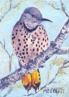 ACEO Original Painting Northern Flicker bird woodpecker flight watching animals #Impressionism