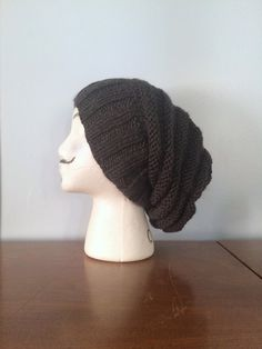 """Items similar to Men's Beehive Beanie """"Ollie"""" - Knit Ribbed Beanie - Hipster Beanie - Grunge Beanie - Slouchy Beanie - Charcoal Grey Beanie - Men's Rasta Tam on Etsy Hipster Beanie, Grey Beanie, Slouchy Beanie, Small Dreads, 3 Shop, Beehive, Hand Knitting, Grunge, Charcoal"""