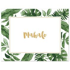 50 cnt Watercolor Palm Leaves Hawaiian Mahalo Thank You C...