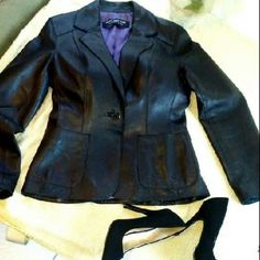 Gorgeous Marc New York Leather coat fitted waist. Gorgeous Marc New York leather coat fitted in waist by one button. Eggplant lining in good condition.  Soft and beautiful. marc new york Jackets & Coats Trench Coats