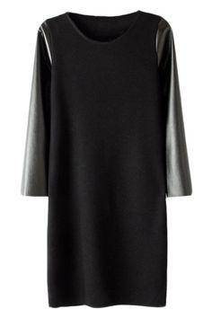 #Romwe ROMWE | Black Dual-tone Elastic Dress, The Latest Street Fashion