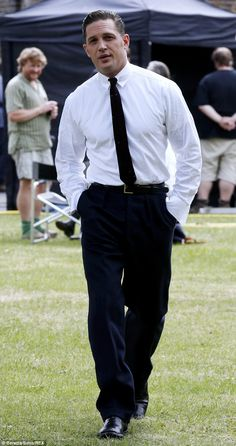 Dashing: Tom Hardy cut a stylish figure on the set of his latest film Legend in London on Thursday