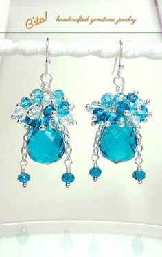 Blue Topaz Sterling Silver Earrings Luxe C'sta by CstaDesigns