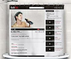 YouTube Shower Curtain | DudeIWantThat.com
