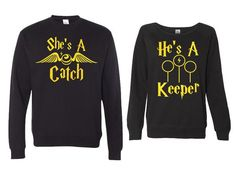 "She's a Catch and He's a Keeper Couples Sweaters Super Soft fabric laundered, 4.2 oz., 50/25/25 polyester/combed ringspun cotton/rayon Sizing: True to Size Sizing Reference: Men - 6' 175lbs equals a Large Women - 5'2"" 110lbs 34C equals a Small"