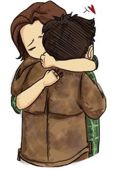It's nice to see the brotherly love between Sam and Cas. Supernatural Cartoon, Supernatural Drawings, Supernatural Fan Art, Castiel, Sterek Fanart, Where Is The Love, Brotherly Love, Stucky, Super Natural