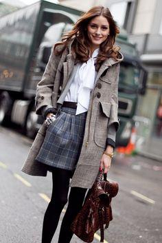 Wool skirt, autumn coat & a pretty white blouse (Olivia Palermo)