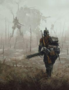 Steampunk WWI German soldier with mechas on the background Arte Sci Fi, Sci Fi Art, Diesel Punk, Desu Desu, Arte Cyberpunk, No Mans Land, Drawn Art, Arte Horror, 3d Drawings