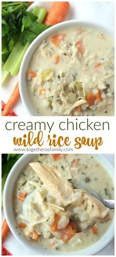 CREAMY CHICKEN WILD RICE SOUP   let the slow cooker do all the work! www.togetherasfamily.com