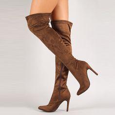 Shoespie Stiletto Heel Side Zipper Knee High Boot Material:Suede