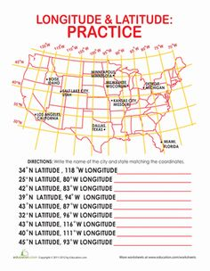 Latitude and Longitude  Geography Worksheets and Social studies