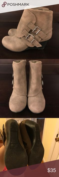 American Rag wedge bootie American Rag wedge bootie.  Size 7 1/2.  Worn 1 time.  Gray/taupe. American Rag Shoes Ankle Boots & Booties