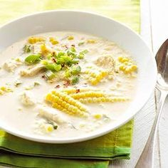 Fresh Corn and Chicken Chowder From Better Homes and Gardens, ideas and improvement projects for your home and garden plus recipes and entertaining ideas. (Chicken Chili Dutch Oven)