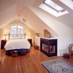love this bedroom -- built ins, slope of the roof, fireplace... | brennan + company architects