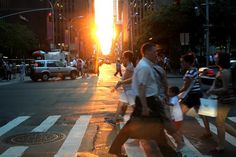 "Twice a year, New Yorkers are treated to a sunset that aligns with Manhattan's street grid. We asked WSJ readers to share their best ""Manhattanhenge"" photos on Instagram and Twitter. #wsjhenge"