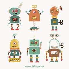 Robots Illustration Free Vector