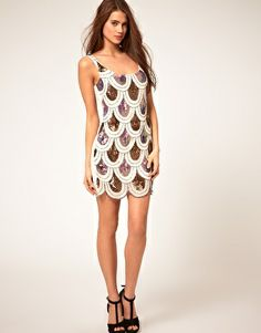 TFNC Dress with Scalloped Iridescent Sequins