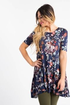 bc3a2c830d6 Ruffle Tunic Blooming Spendor Navy Navy Floral Dress, Mother Daughter  Fashion, Winter Outfits,