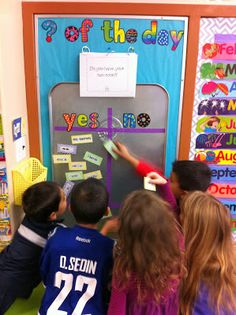 """a little class management tool called """"Question of the day."""" Every morning the kids come in and go straight to the question of the day board. I love it because it does the attendance for me and has my kids reading first thing in the morning!"""
