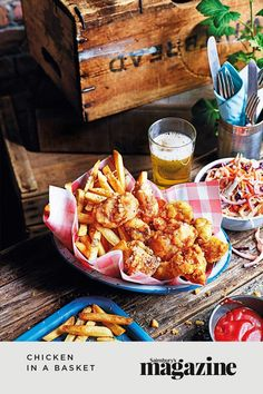 Popcorn-style fried chicken pieces with a salt and pepper coating, served with rosemary fries and a pickle slaw on the side — a delicious snack! Get the Sainsbury's magazine recipe Chicken In A Basket Recipe, Easy Chicken Recipes, Quick Snacks, Yummy Snacks, Onion Relish, Potato Skins, Dinner For Two, Sainsburys, Food Trends