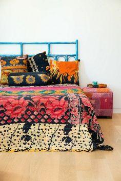 Blue Bed Boho bedding Puff cushions