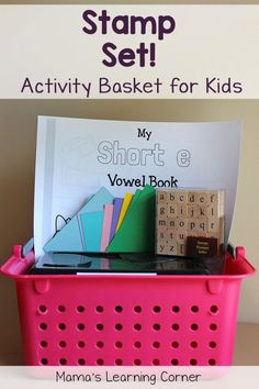 Create an Activity Baskets for your young ones!  This one includes a free printable CVC packet and alphabet stamps.