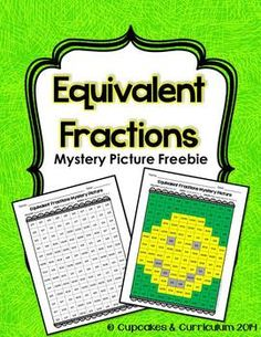 Equivalent Fractions Mystery Picture by Cupcakes n Curriculum Equivalent Fractions, Math Fractions, Maths, Dividing Fractions, Multiplication, Math Games, Math Division, Long Division, Math Genius