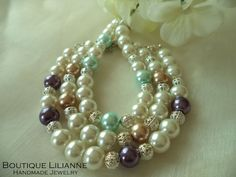 beautiful handmade pearl barcelet designed by Boutique Lilianne
