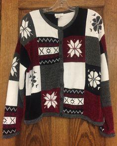 Christopher & Banks Women's Chenille Snowflake Holiday Cardigan Sweater LG #ChristopherBanks #Cardigan