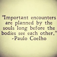 """important encounters are planned by the soul"" -Paulo Coelho"