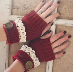 Holiday red finglerless knit gloves with lace trim Crochet Mittens, Fingerless Mittens, Crochet Gloves, Knit Or Crochet, Cute Crochet, Crochet Wallet, Fairy Clothes, Knitting Accessories, Hand Warmers