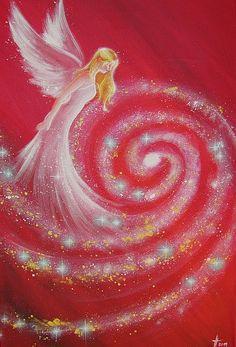 """Beperkte engel kunst foto """"kosmische beschermengel"""", moderne engel schilderen, illustratie, foto frame, als cadeau,"""