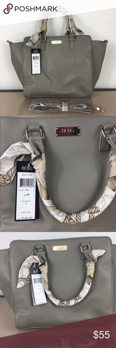 BCBG Paris Scarf Story Satchel Handbag Made of durable faux leather, this handbag is meant to serve you for years to come. The bag features a zipper closure.  Available in various fashionable colors, including beige, black, red, grey, blue, orange, purple and yellow Made of durable faux leather Double handle handbag Features a zipper closure for maximum safety BCBG Bags Satchels