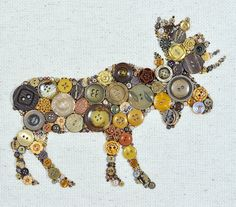 Button Art  Moose  Vintage Button Art Wall by PaintedWithButtons