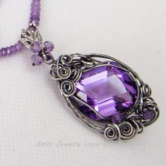Sterling Silver Wire Wrapped Antique Style Amethyst Pendant Necklace