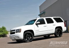 White Tahoe With Black Mkw M105 Rims