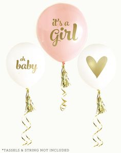 Baby Shower Balloons Pink Oh Baby Girl or Blue Oh Baby Boy Balloons SET of 3 Balloons Metallic Gold Ink Gold Foil Decor Gender Reveal Shower