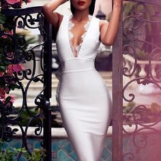 Lace Embroidery Sleeveless Deep V White Bandage Dress