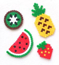 fruit hama perler bead craft pattern crossstitch design mypoppet com Perler Bead Designs, Perler Bead Templates, Hama Beads Design, Diy Perler Beads, Perler Bead Art, Pearler Beads, Owl Perler, Hama Beads Kawaii, Melty Bead Patterns
