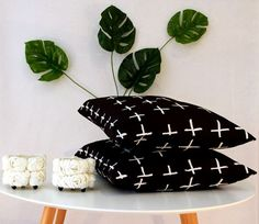 Modern black and white crosses cushion cover perfect by CitraHome