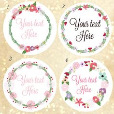 Custom logo stickers, custom labels, wreath of flower labels , label design , custom sticker ,floral stickers , personalized labels, labelin