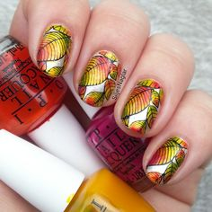 Opi Color Paints and stamping autumn nail art