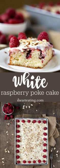 White Raspberry Poke Cake Recipe - white cake with raspberry filling and homemade cream cheese frosting. This is the best dessert that starts with a cake mix! by rachelpp Potluck Desserts, Fancy Desserts, Just Desserts, Delicious Desserts, Dessert Recipes, Baking Recipes, Poke Cake Recipes, Poke Cakes, Frosting Recipes