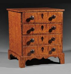 A Good American Tiger Maple Miniature Chest of Drawers, c., square top above four graduated drawers, scrolle. Fine Furniture, Shabby Chic Furniture, Antique Furniture, Doll Furniture, How To Antique Wood, Or Antique, Miniature Furniture, Dollhouse Furniture, Painted Boxes