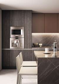 Sleek and sexy kitchen with Grafite marble Design Credit: 1508 London #UniqueKitchens