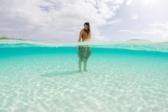 Beauty above and below. Britta Trubridge in Long Island, Bahamas. Photo by Prawno Creative Director Lia Barrett.